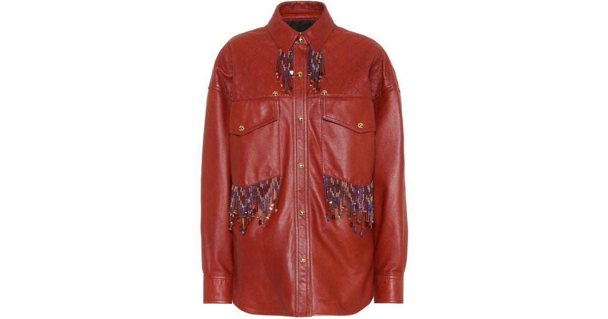 48425738063 Lyst - Veste en cuir à perles Arlari Acne Studios en coloris Marron