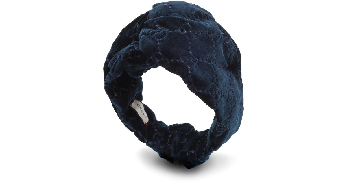 53beb4cb43 Gucci Blue GG Velvet Headband
