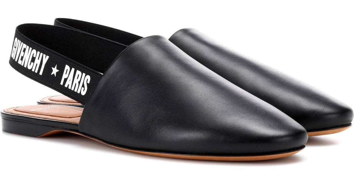 a535701d3 Givenchy Leather Slingback Slippers in Black - Save 46% - Lyst