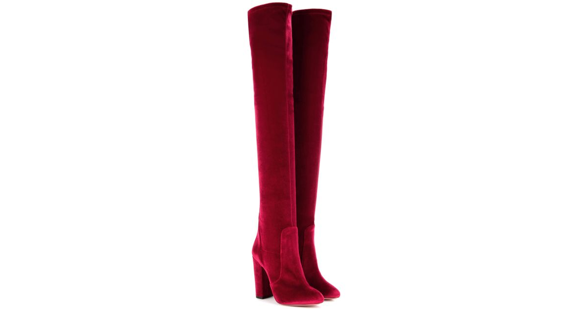 c1ed41bc13e Aquazzura Velvet Over-the-knee Boots in Red - Lyst