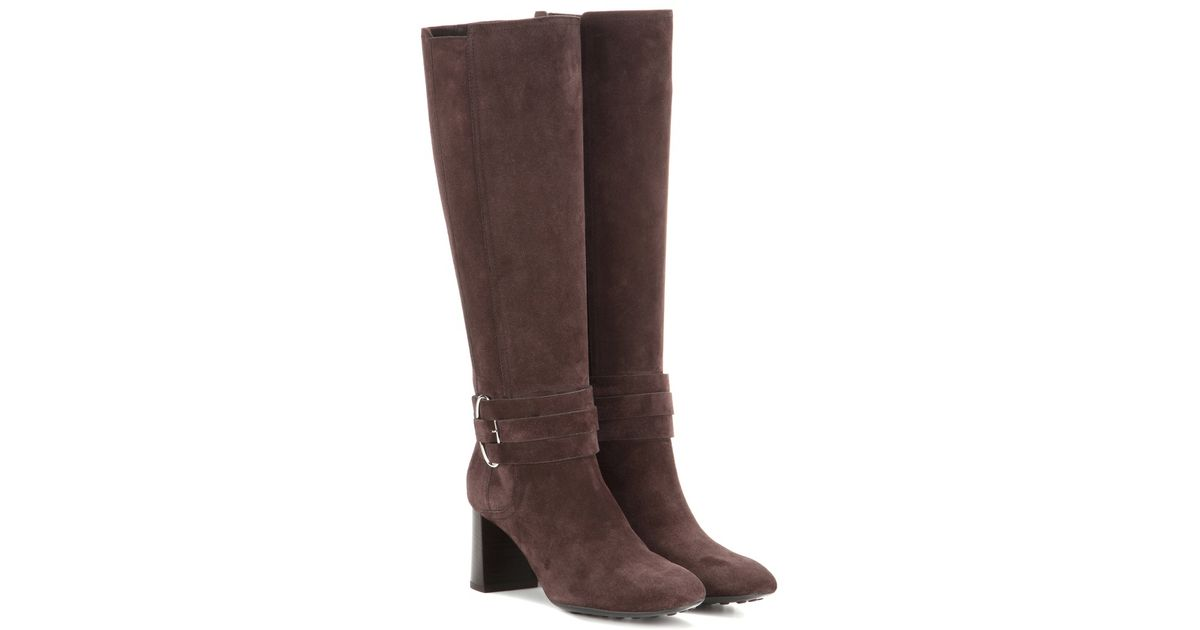 tod s suede knee high boots in brown lyst