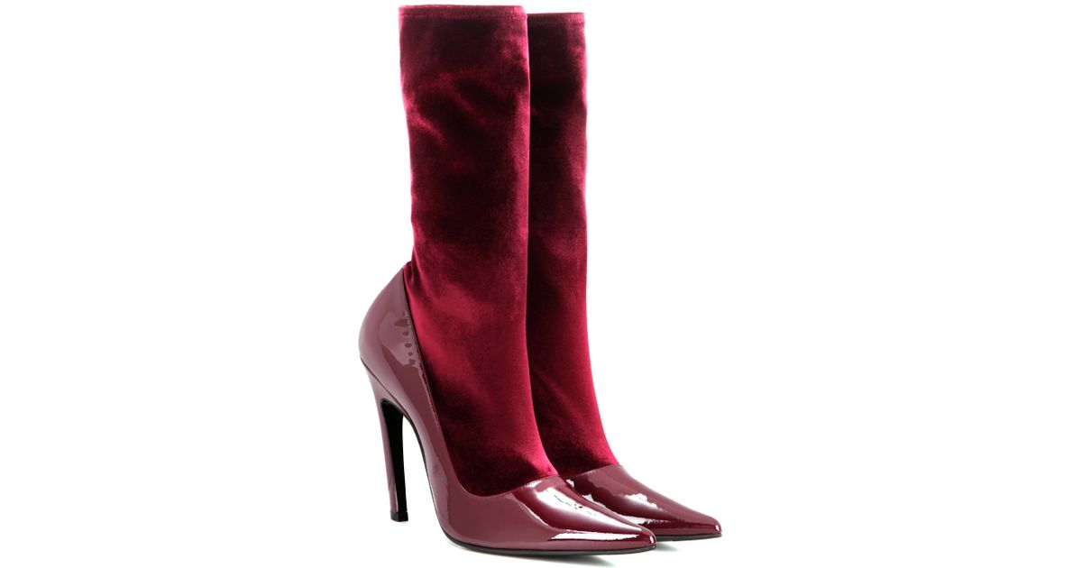 balenciaga velvet and patent leather boots in lyst
