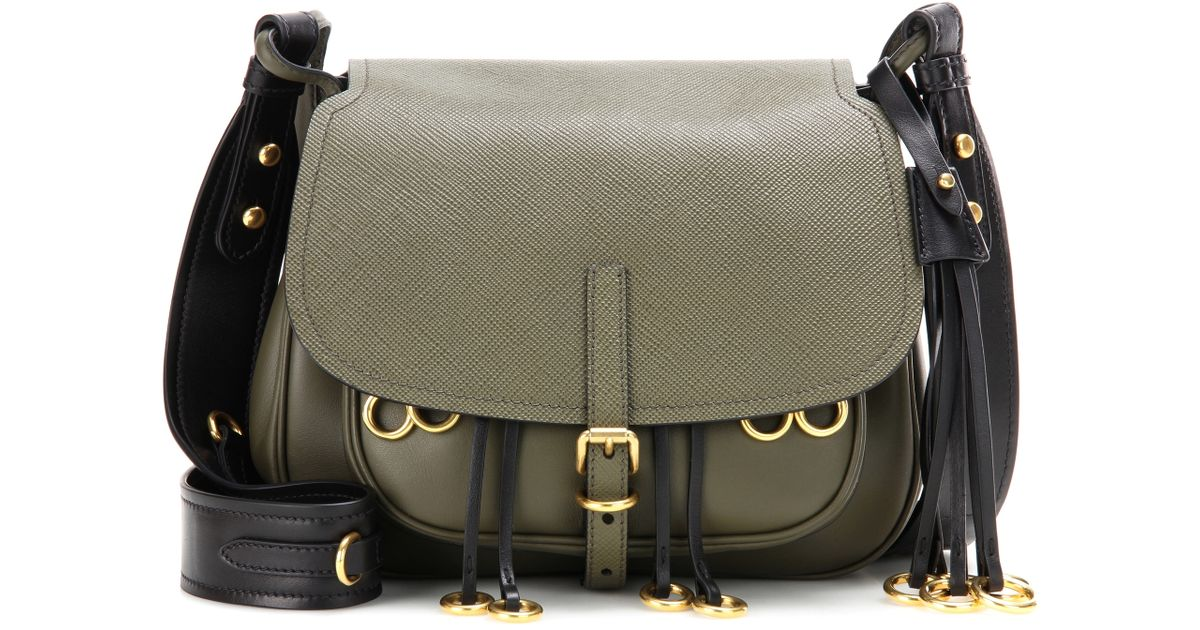0e52c76b928b Prada Corsaire Leather Cross-Body Bag in Green - Lyst