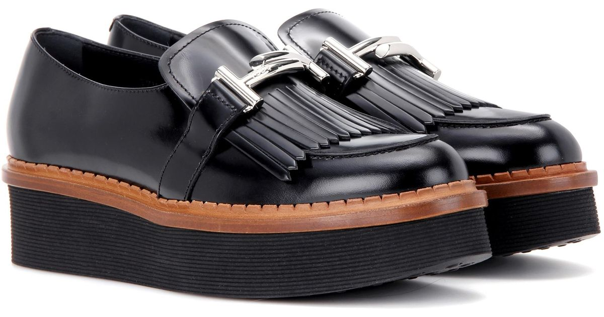 5c3432fee4cd Lyst - Tod s Double T Platform Leather Loafers