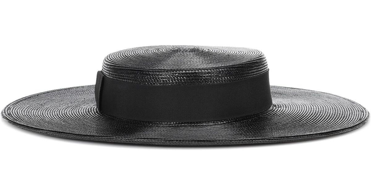 69dbe35f1f5 Saint Laurent Wide-brimmed Straw Hat in Black - Save 50% - Lyst