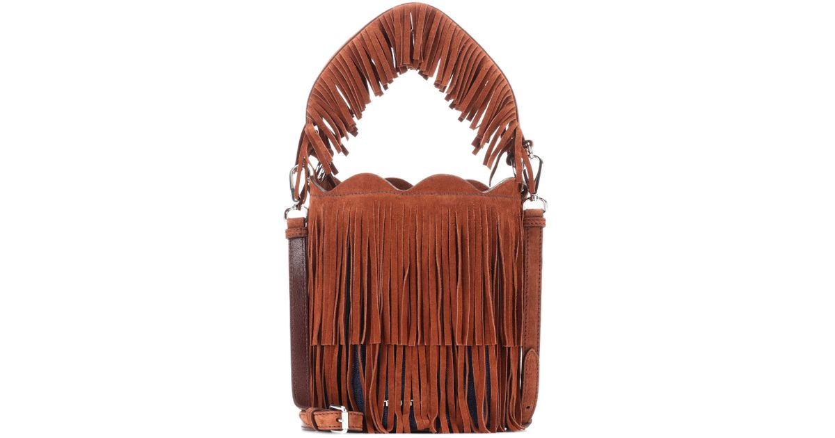 Lyst - Miu Miu Fringed Suede Bucket Bag in Brown 1c4c4dc4a23d5