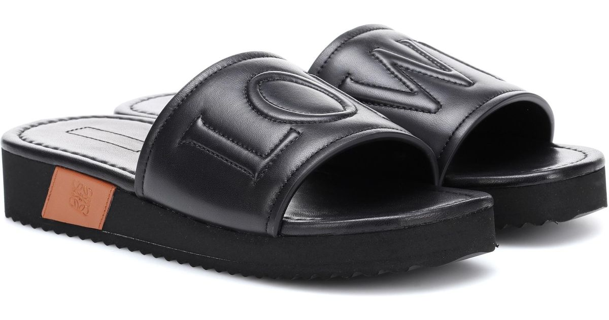 Black Leather Slides Loewe c7R6c