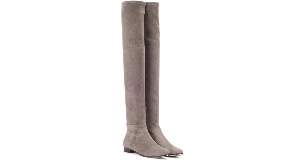 32dc70286d7 Lyst - Jimmy Choo Myren Flat Suede Over-the-knee Boots in Gray
