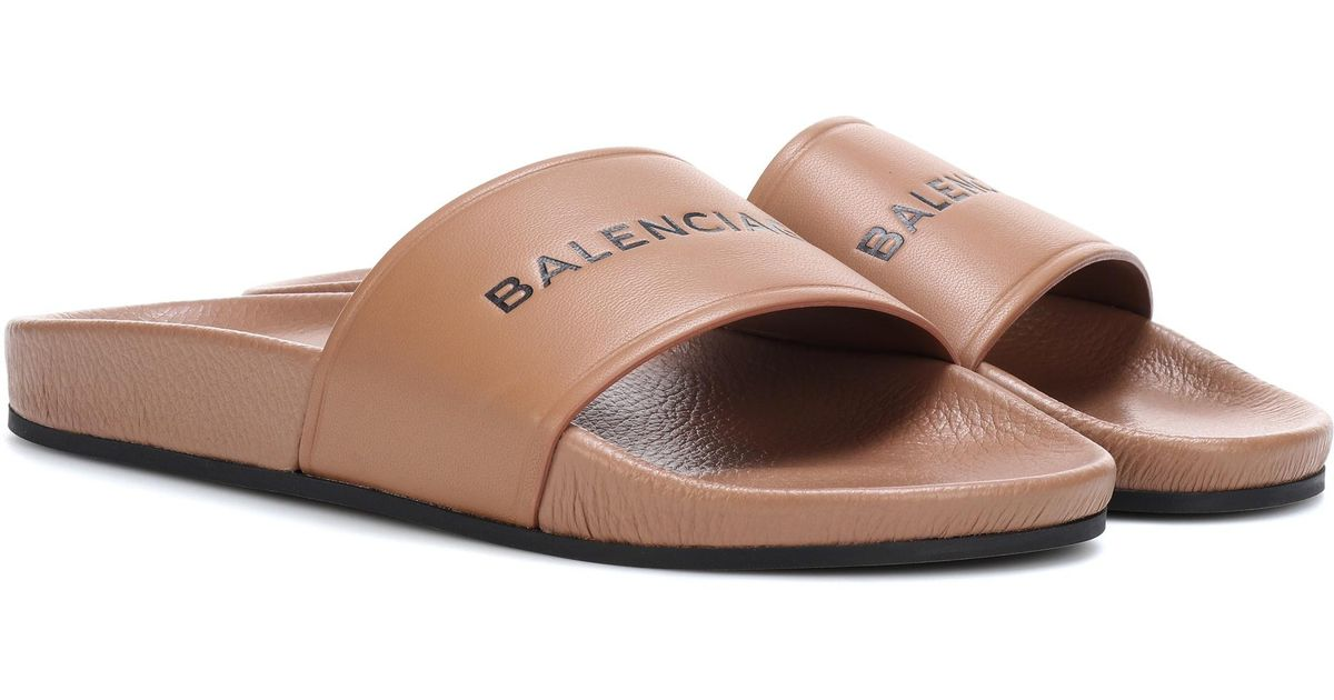 4d34c080184 Lyst - Balenciaga Leather Slides in Brown