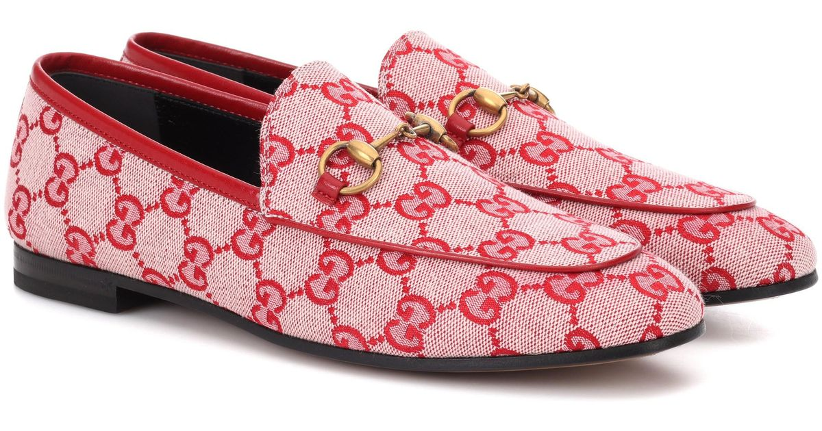 f3d5a87a7 Gucci Jordaan GG Canvas Loafers in Red - Lyst