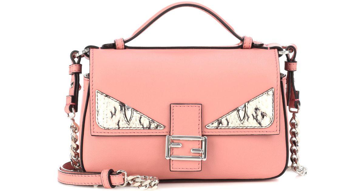 ea9dd496068e Lyst - Fendi Double Micro Baguette Snakeskin-embellished Leather Shoulder  Bag in Pink