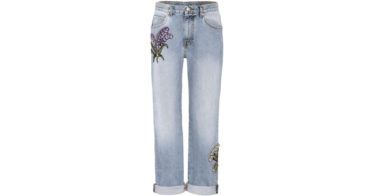classic fit lovely luster 2019 real Alexander McQueen - Blue Crystal-embellished Jeans - Lyst