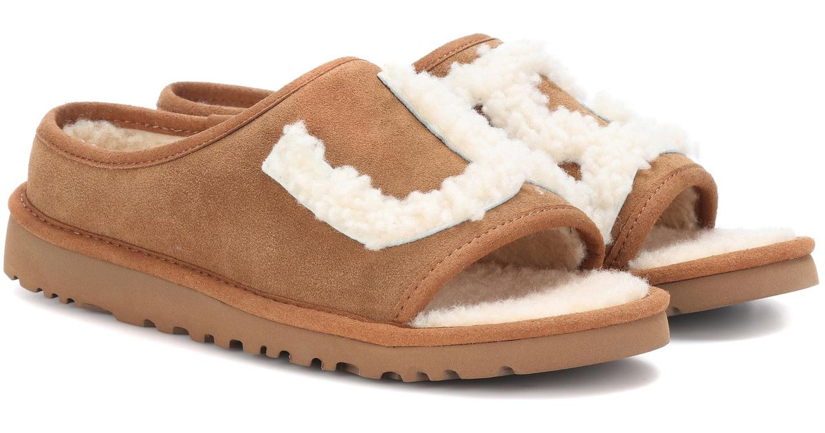 lyst ugg slide suede and shearling slides in brown