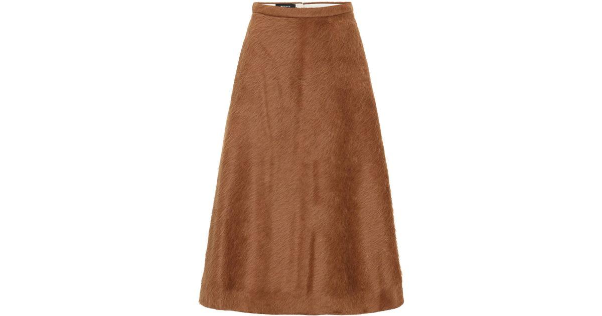 6e751d7ff Falda midi de alpaca y lana Rochas de color Brown