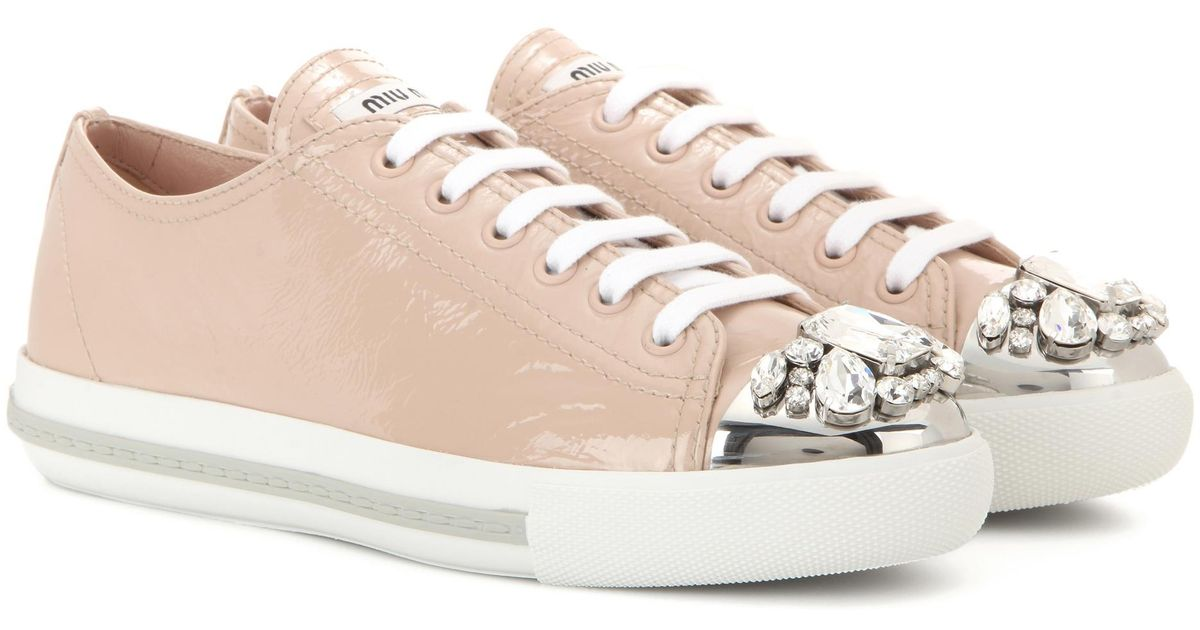 04d2470f56 Lyst - Miu Miu Crystal-Embellished Patent Leather Sneakers in Natural