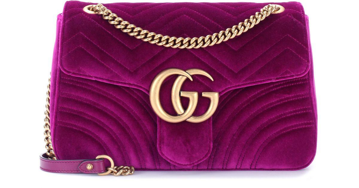 1ab0ecbeefc3 Lyst - Gucci GG Marmont Medium Shoulder Bag in Purple