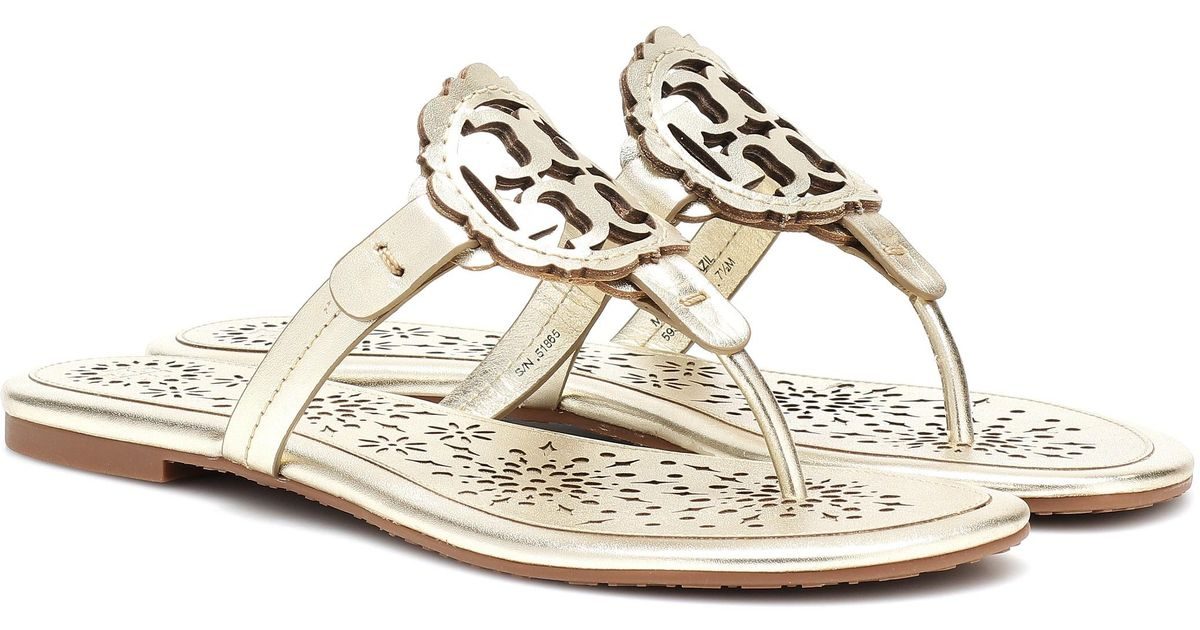 f2550ed93ef8d Lyst - Tory Burch Miller Leather Sandals in Metallic