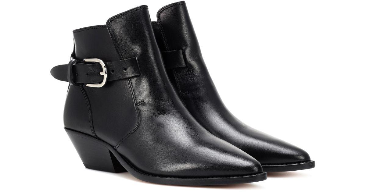 acheter pas cher dessin de mode haute couture Isabel Marant Black Santiag Leather Ankle Boots