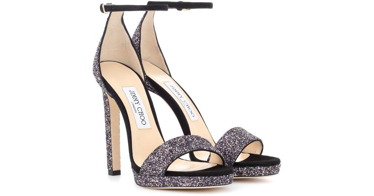 2d4ae358038e Lyst - Jimmy Choo Misty 120 Glitter Sandals in Metallic