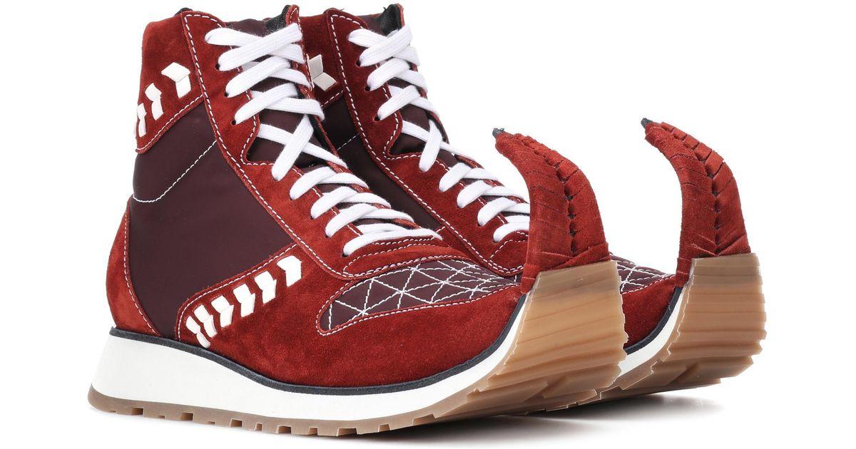 Loewe Suede Sneakers In Red Lyst