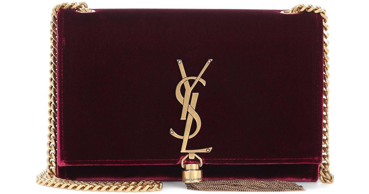 308928aee70e Saint Laurent Small Kate Monogram Velvet Shoulder Bag in Red - Lyst
