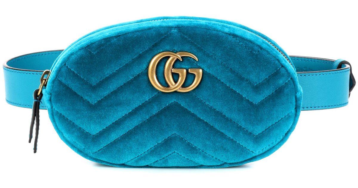 162a29481a7 Lyst - Gucci Marmont Velvet Belt Bag in Blue
