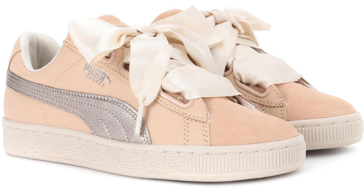 huge selection of 3a003 ea95c PUMA Natural Basket Heart Up Leather Sneakers