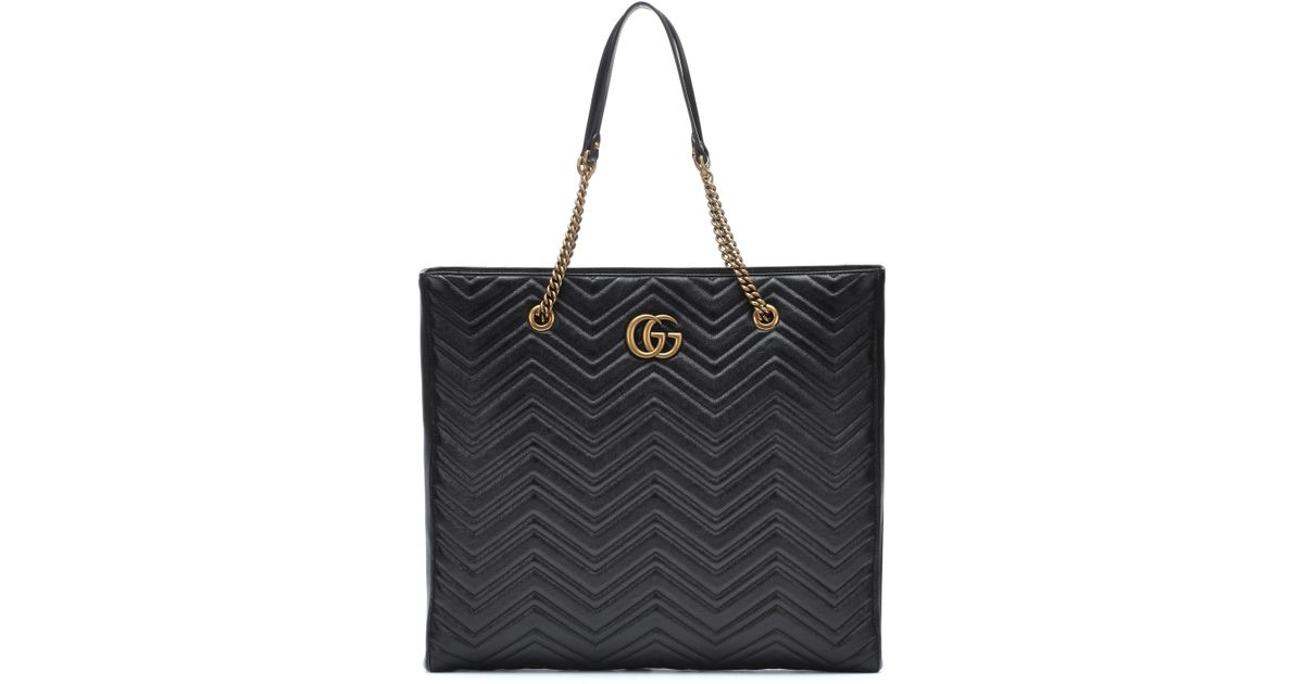 ce4709e61ae Gucci GG Marmont Large Leather Tote in Black - Save 23% - Lyst