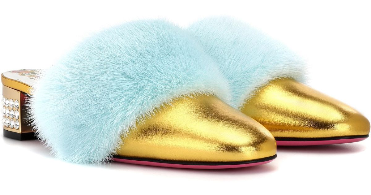 2cd4c06b2ccf Lyst - Gucci Gold Candy Mink Leather Mules in Metallic - Save 1%