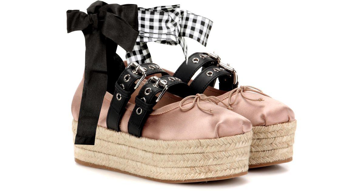 Miu Miu Satin And Leather Platform
