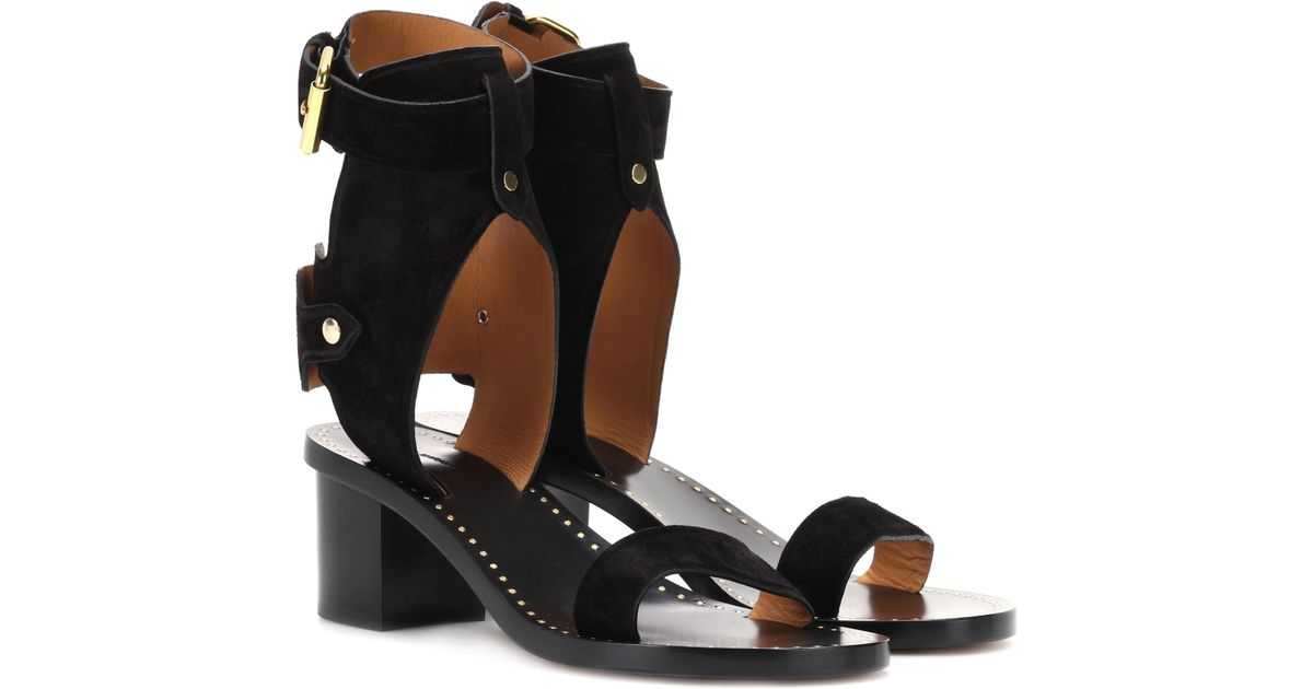 5bc7f532ecc Isabel Marant Jaeryn Suede Sandals in Black - Lyst