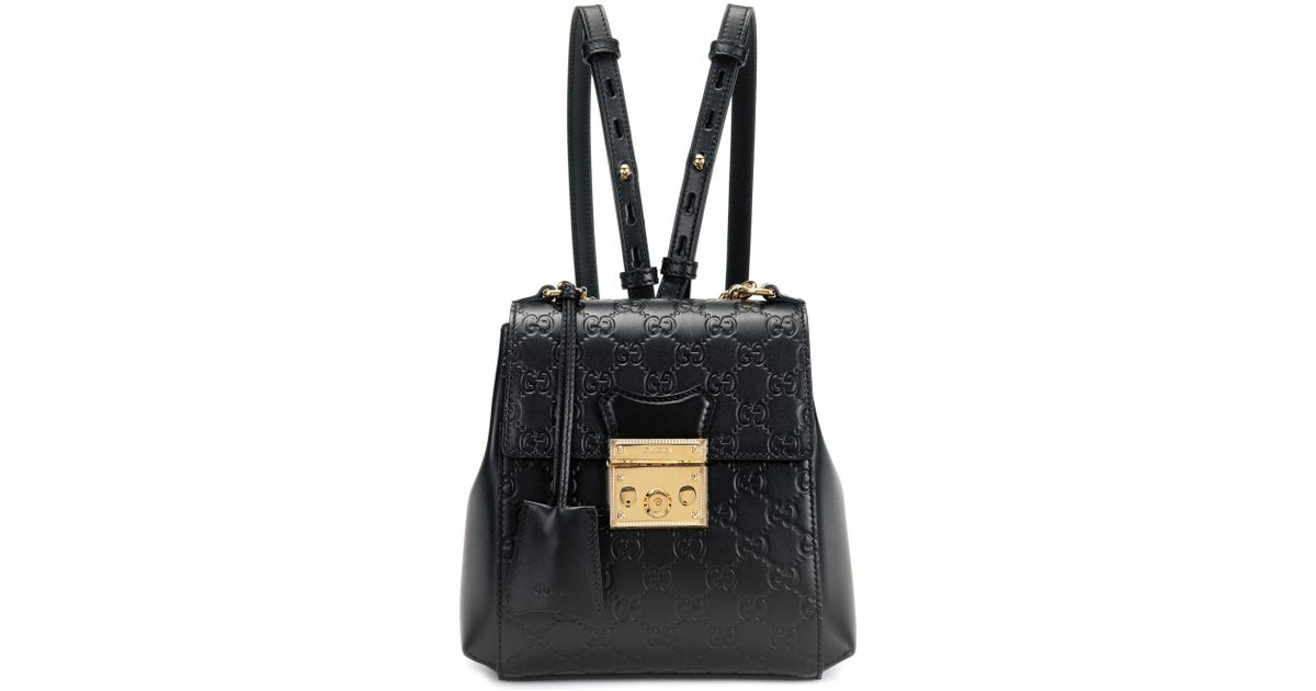 41a82dbbd45 Lyst - Gucci Padlock Embossed Leather Backpack in Black
