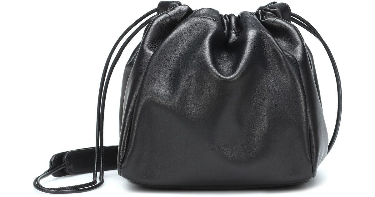 Jil Sander Black Drawstring Small Crossbody Bag