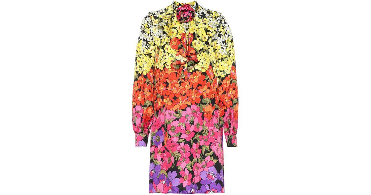 d86a26f2a Lyst - Gucci Floral-printed Silk Dress