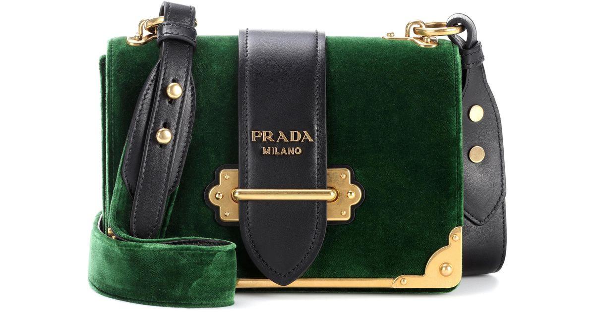 ae005f4d8b8f Lyst - Prada Cahier Velvet Shoulder Bag in Green