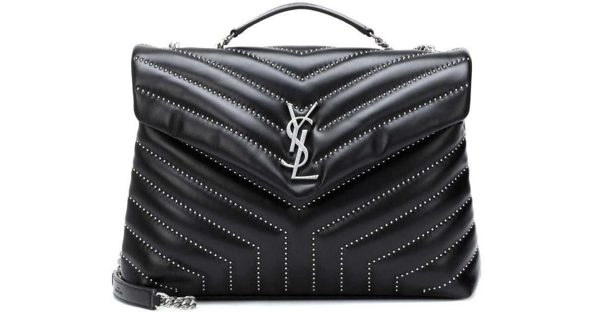 5d6e6105f Saint Laurent Medium Loulou Monogram Studded Leather Shoulder Bag in Black  - Lyst