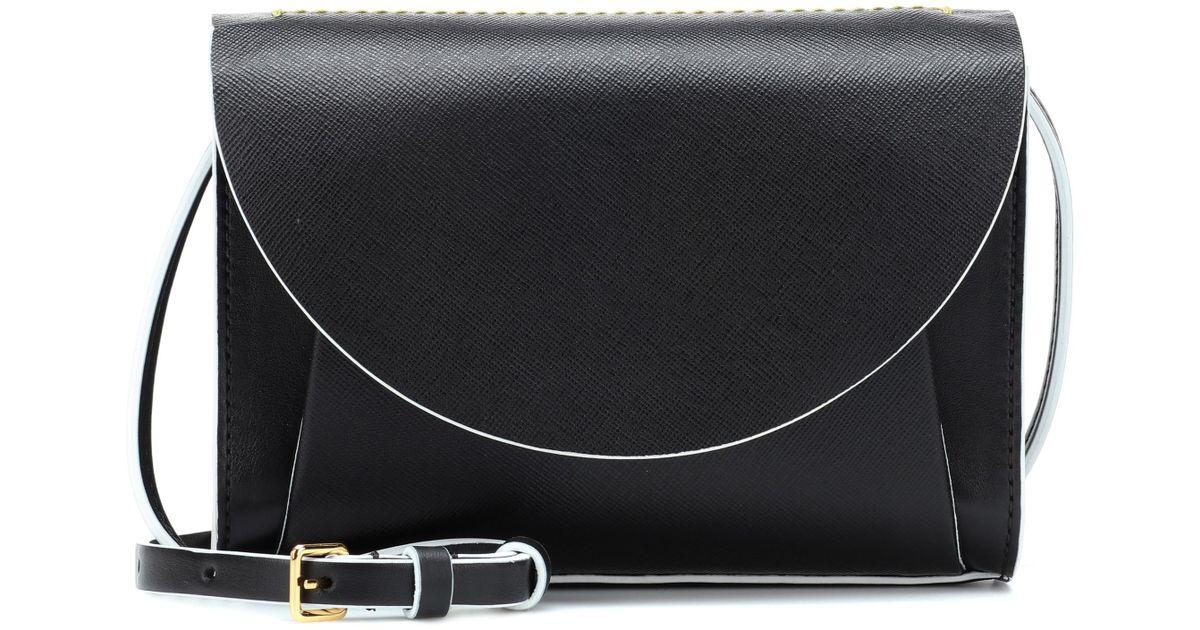 b598d602afce Lyst - Marni Law Leather Shoulder Bag in Black