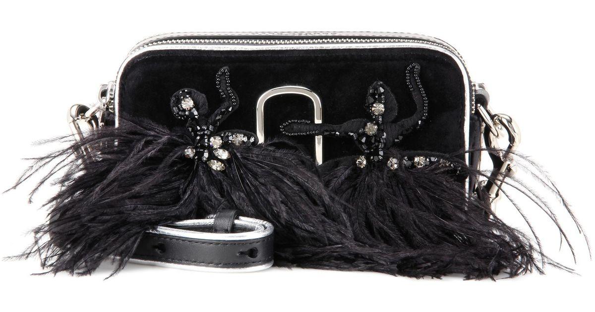 383f7285096 Marc Jacobs Snapshot Small Camera Velvet Crossbody Bag in Black - Lyst