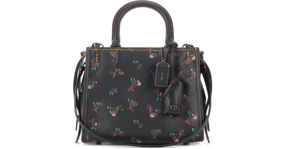 9aa30a502d9 COACH Black Rogue Cherry-printed Leather Tote