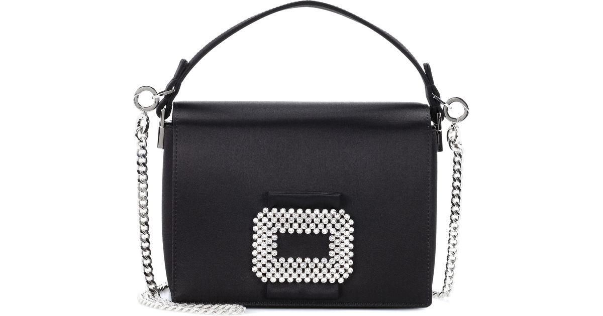 4ceddaf7204 Roger Vivier Madame Viv Satin Shoulder Bag in Black - Save 51% - Lyst