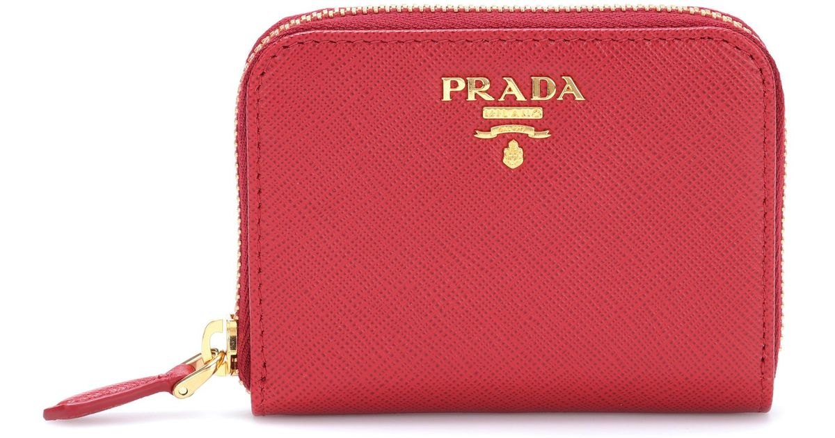 438666f866e3 ... shopping lyst prada saffiano leather wallet in red e1a2c bbc4b