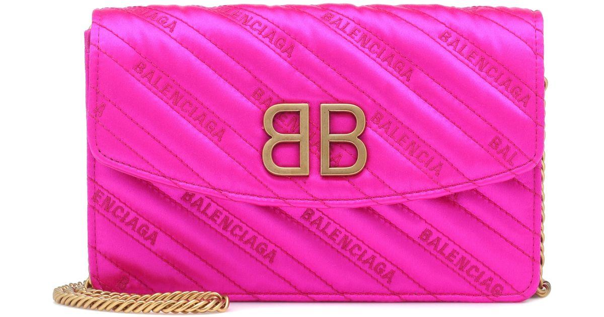 Balenciaga Coloris Bb En À Pink Sac Bandoulière Chain Satin erCWxBod