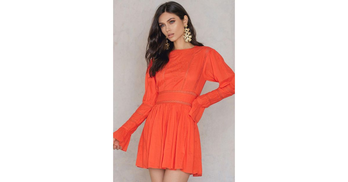 6ec98cf24c8f8 Free People Victorian Waisted Mini Dress in Orange - Lyst