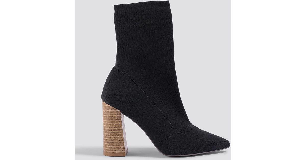 92faef78342b Lyst - NA-KD Pointy Block Heel Sock Boots Black in Black