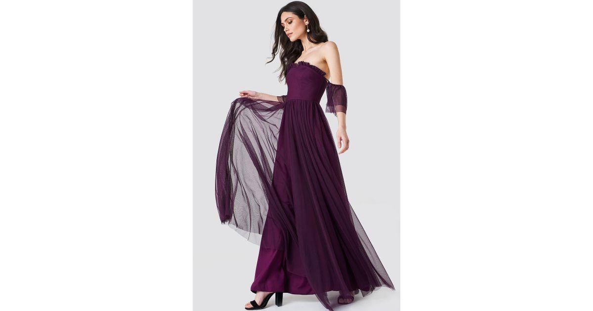 a107327c3ff6 Lyst - Trendyol Off Shoulder Tulle Maxi Dress in Purple