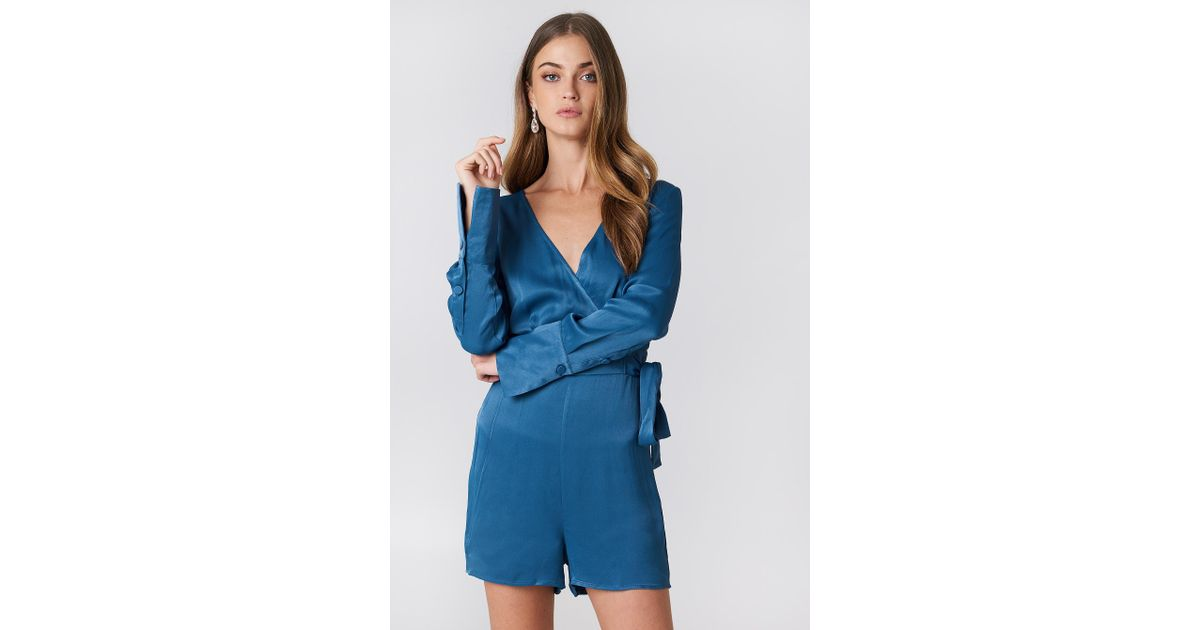 promo codes first rate enjoy lowest price NA-KD Overlap Satin Playsuit Blue