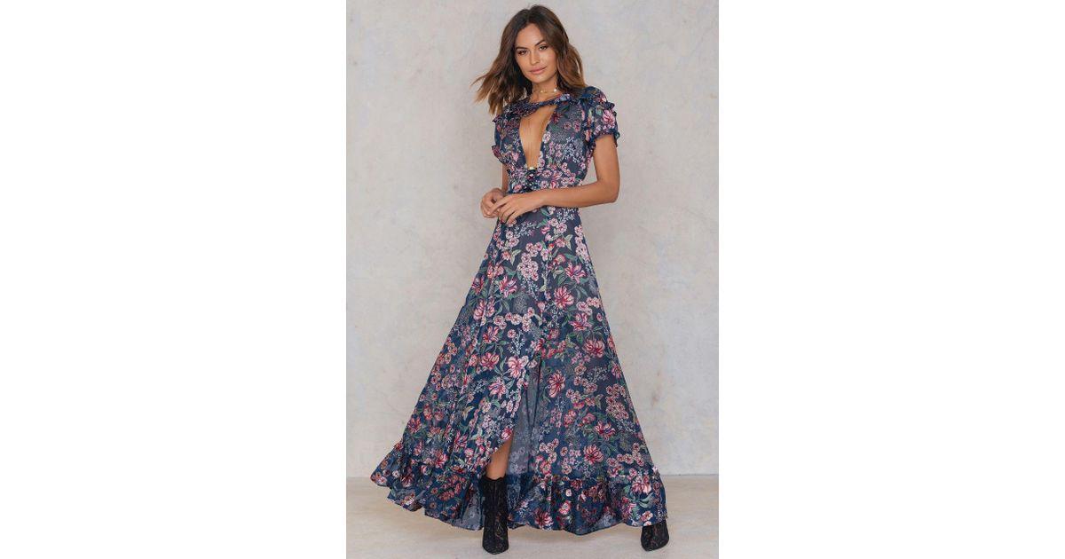 8e62db377e9 For Love   Lemons Flora Maxi Dress in Blue - Lyst