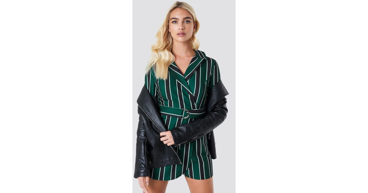 8b605e411d5c Lyst - Trendyol Striped Wrap Playsuit in Green