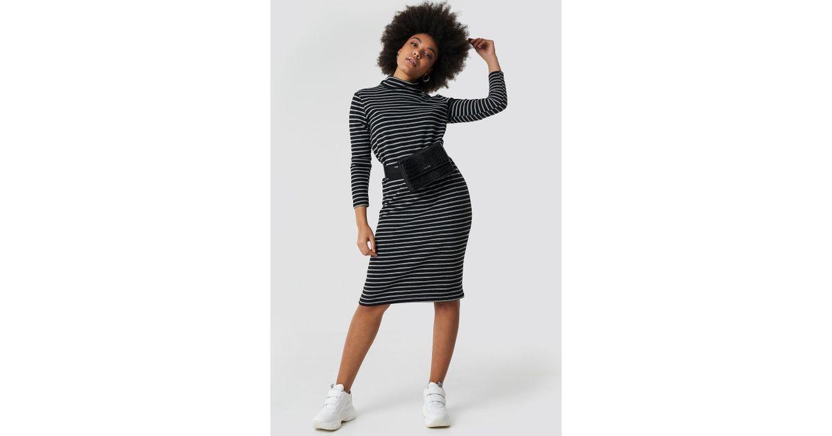 526c70d0450 Lyst - Trendyol Striped Knitted Midi Dress Black in Black