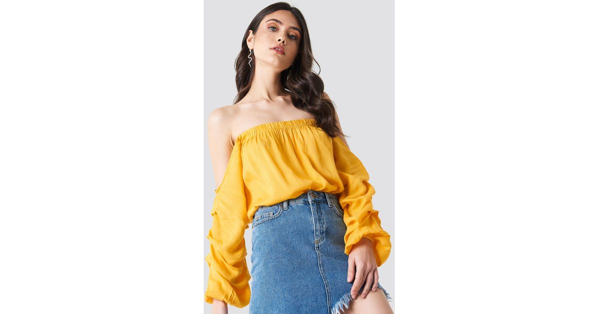 19ad0def567d4 NA-KD Off Shoulder Puff Sleeve Top Yellow in Yellow - Lyst